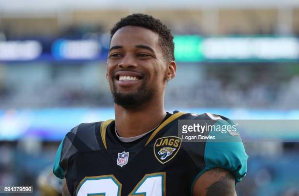 J Bouye of the Jacksonville Jaguars waits near the bench during the second half of their game against the Houston Texans at EverBank Field on...