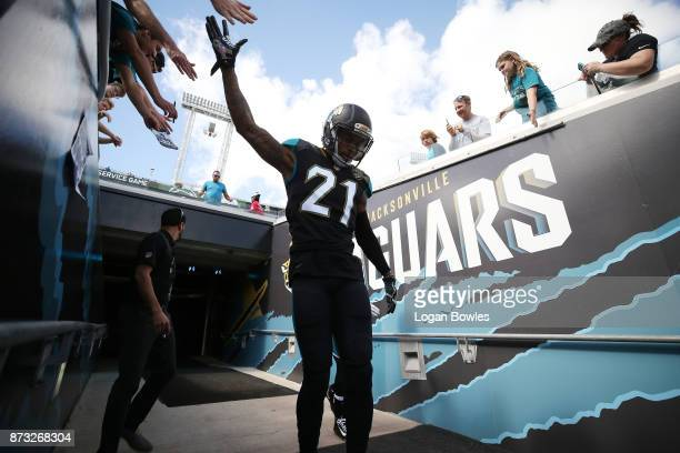 J Bouye of the Jacksonville Jaguars walks to the field prior to the start of their game against the Los Angeles Chargers at EverBank Field on...