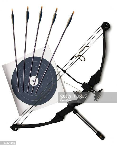 Bow and Arrow with Target Isolated on White