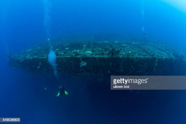 Bow and Flight Deck of Aircraft Carrier USS Saratoga, Marshall Islands, Bikini Atoll, Micronesia, Pacific Ocean