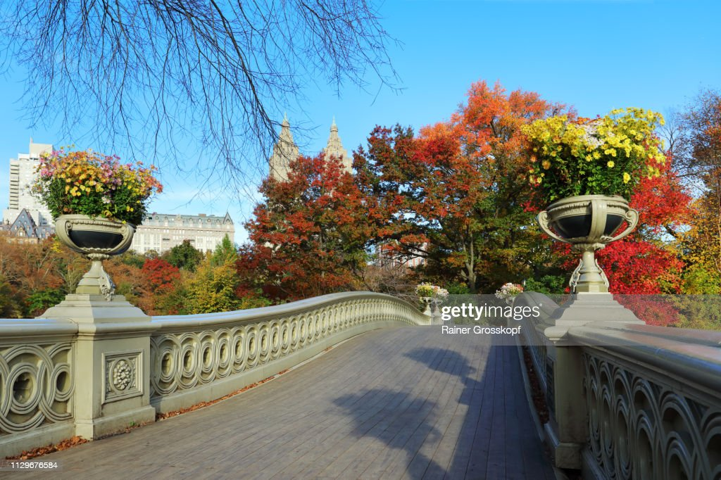Bow Bridge decorated with flower pots in Autumn : Stock-Foto