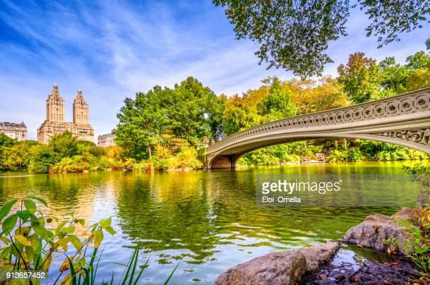 Bogenbrücke im Central Park im Herbst New York Manhattan Foto