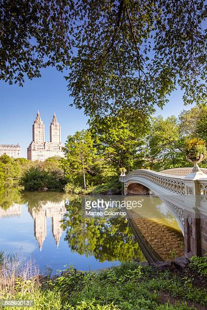 bow bridge in spring, central park, new york, usa - central park reservoir stock pictures, royalty-free photos & images