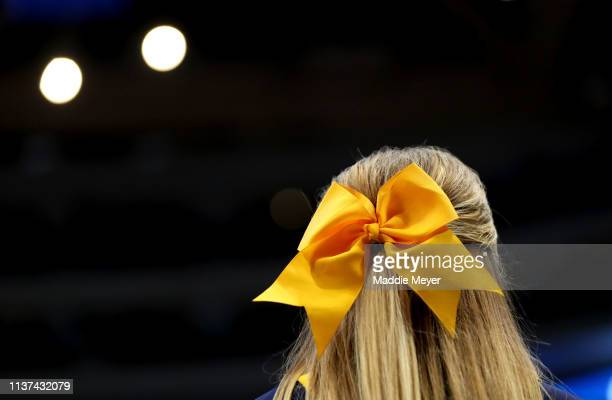 A bow detail is seen worn by a Murray State Racers cheerleader during the first round game of the 2019 NCAA Men's Basketball Tournament between the...