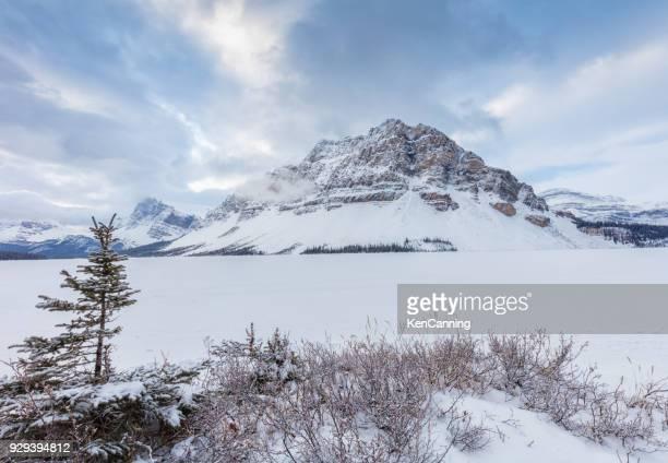 Bow-meer en de bergen in de Winter langs de Icefields Parkway in Nationaal Park Banff, Alberta Canada