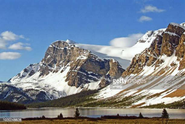 bow lake showing spring melt along lake - bow river stock pictures, royalty-free photos & images