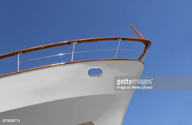 Bow of a large luxury yacht