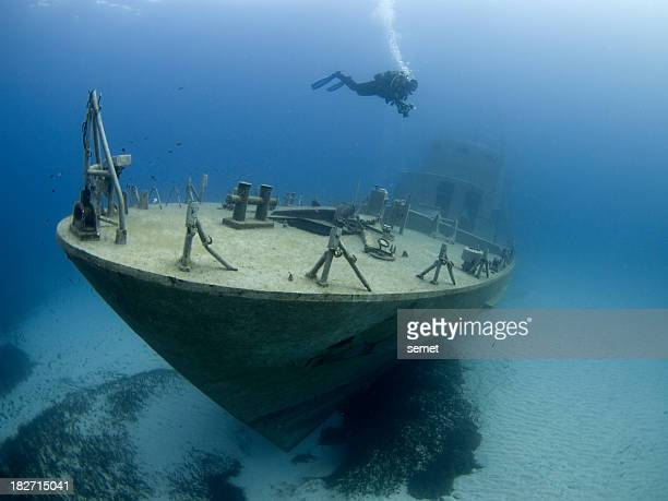 bow of a recently sunken wreck in Malta