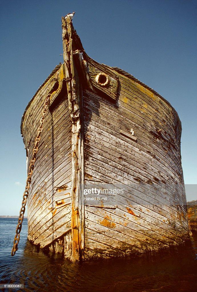 Bow Of An Old Wooden Sailing Ship At Anchor Stock Photo