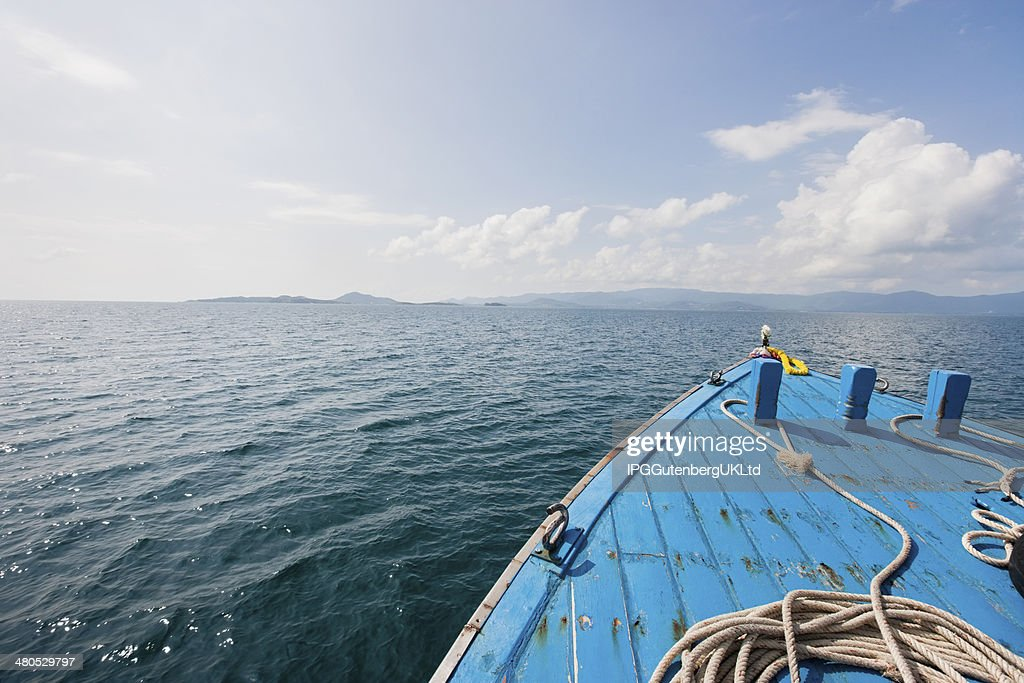 Bow of boat on sea; Koh Samui; Thailand : Bildbanksbilder