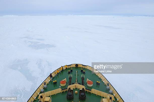 bow of icebreaker kapitan khlebnikov in pack ice - weddell sea stock photos and pictures