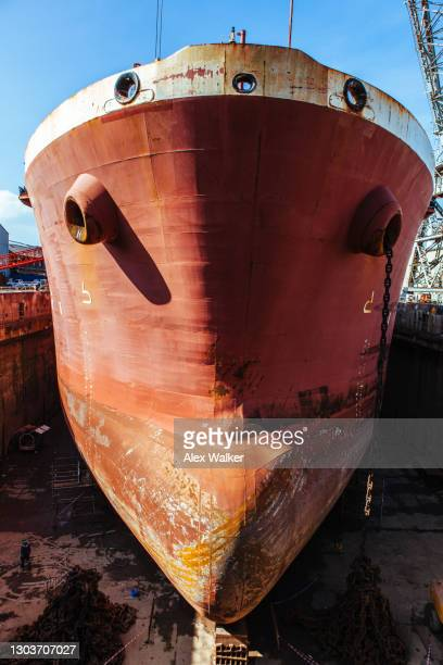 bow of large ship in dry dock - west indies stock pictures, royalty-free photos & images