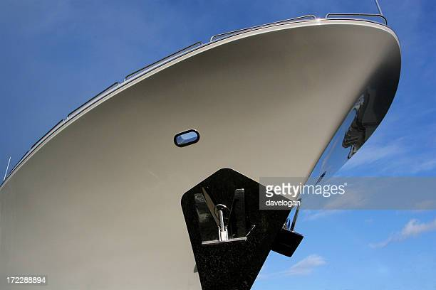 bow of luxury yacht - ship front view stock photos and pictures