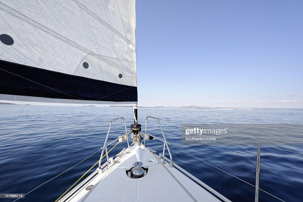 Bow of Sailing Yacht : Stock Photo