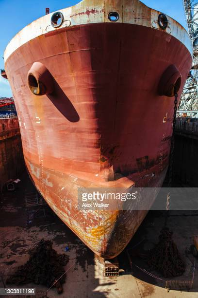 bow of ship in dry dock - west indies stock pictures, royalty-free photos & images