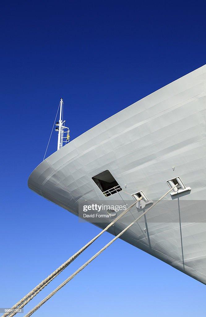 Bow of Tethered Cruise-Ship. : Stock Photo