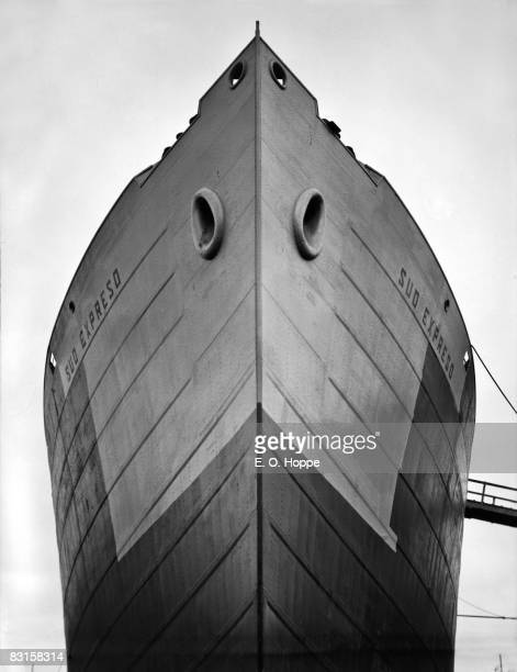 Bow of the merchant ship Sud Expreso in a shipyard Germany 1928 The Sud Expreso was built for a Norwegian shipping company but returned to the...