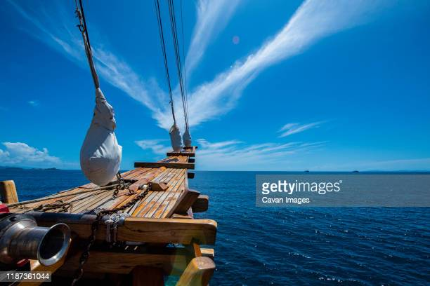 bow of wooden sailboat at raja ampat / indonesia - 大型帆船 ストックフォトと画像