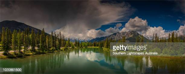 bow river and valley, banff, alberta, canada. - bow valley stock pictures, royalty-free photos & images