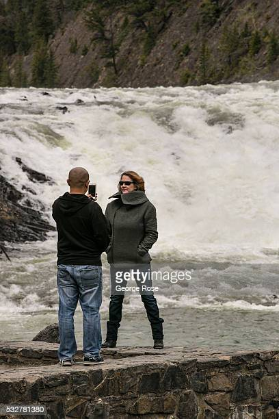 Bow River Falls is viewed on April 23 2016 in Banff Springs Alberta Canada Banff is Canada's oldest National Park and is located in the Canadian...