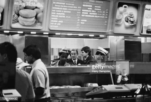Bow Street Magistrate Ronald Bartle in the food preparation area of a branch of McDonalds in London England 25th January 1985