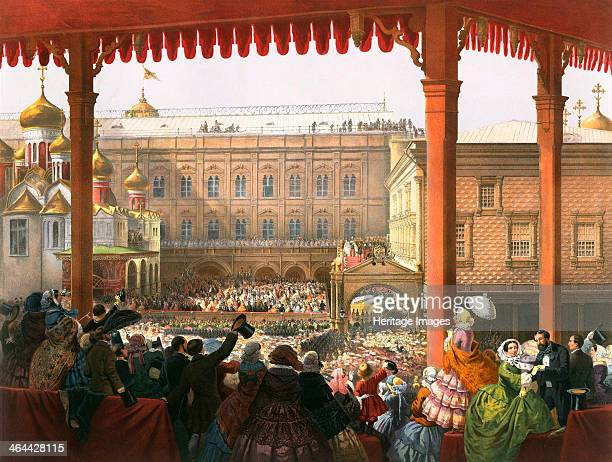 'Bow to the People' Coronation of Tsar Alexander II of Russia Moscow 1856 The coronation of Emperor Alexander II and Empress Maria Alexandrovna took...