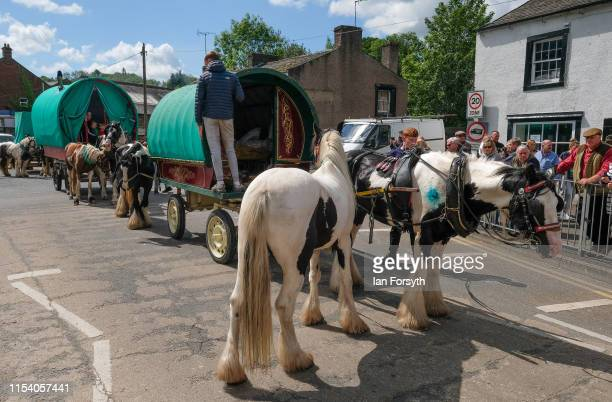 Bow top caravans arrive in Appleby on the first day of the Appleby Horse Fair on June 06, 2019 in Appleby, England. The fair is an annual gathering...