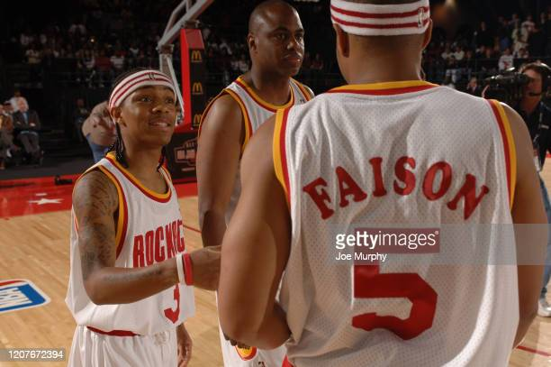 Bow Wow and Donald Faison of the Clutch City talk against the HTown during the McDonald's NBA AllStar Celebrity Game at NBA Jam Session presented by...
