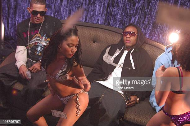 Bow Wow Khleo Thomas and model Jazmyn during Bow Wow on the Set of Outta My System Music Video Featuring TPain February 3 2007 at Metropolis Studios...