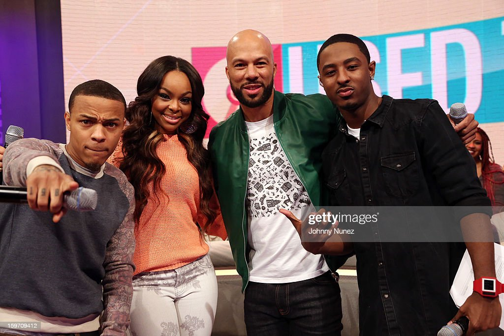 Bow Wow, Kimberly 'Paigion' Walker, rapper/actor Common, and Shorty Da Prince visit BET's '106 & Park' at 106 & Park Studio on January 18, 2013 in New York City.