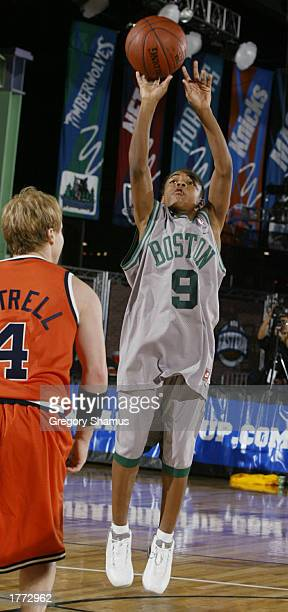 Bow Wow shoots a jump shot during the Jeep Celebrity 3 on 3 games on February 9 2003 at the NBA All Star 2003 Jam Session in Atlanta Georga NOTE TO...