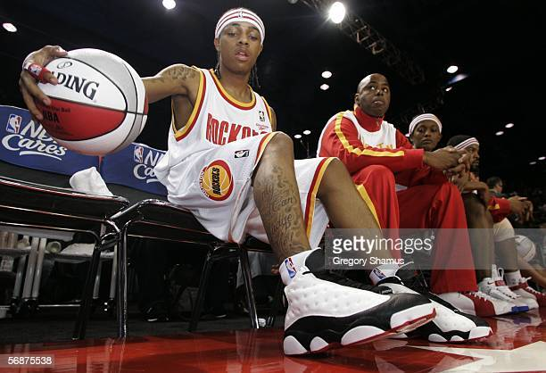Bow Wow warms up prior to the McDonalds Celebrity game on Center Court at Jam Session during NBA All Star Weekend on February 17 2006 in Houston...