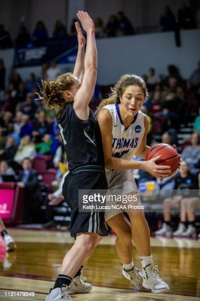 Bowdoin Bears guard Samantha Roy attempts to cut off Thomas More Saints forward Shelby Rupp during the Division III Women's Basketball Championship...