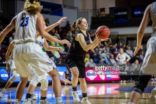 Bowdoin Bears guard Samantha Roy dishes an assist during the Division III Women's Basketball Championship held at the Cregger Center on March 16 2019...