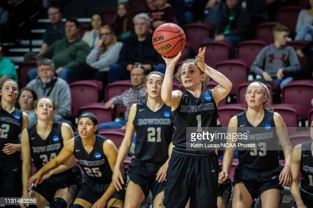 Bowdoin Bears guard Samantha Roy drains a three pointer during the Division III Women's Basketball Championship held at the Cregger Center on March...