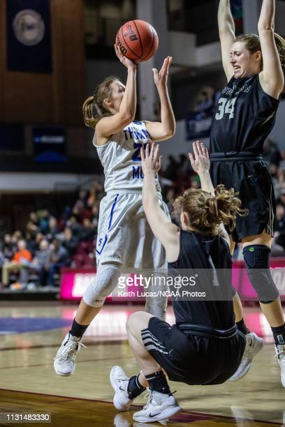 Bowdoin Bears guard Samantha Roy draws the charge on Thomas More Saints guard Briana McNutt during the Division III Women's Basketball Championship...
