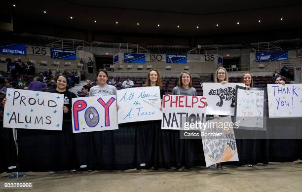 Bowdoin Polar Bears alumni showed their support before the Division III Women's Basketball Championship held at the Mayo Civic Center on March 17...