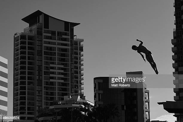 Bowen Huang of China competes in the 3m Springboard Final during the FINA Diving Grand Prix on October 31 2015 on the Gold Coast Australia