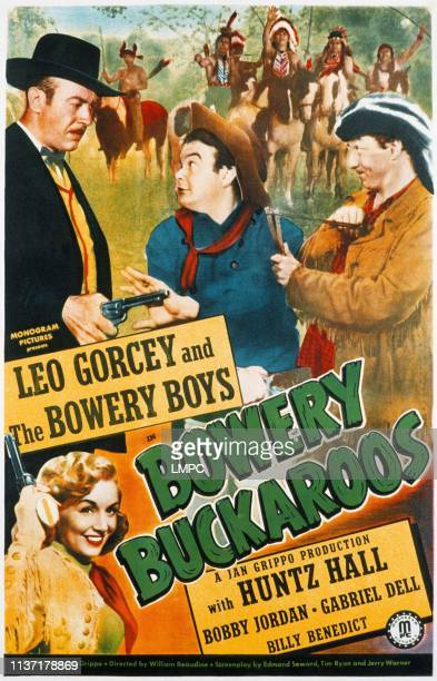 Bowery Buckaroos poster clockwise from lower left Julie Gibson Norman Willis Leo Gorcey Huntz Hall 1947