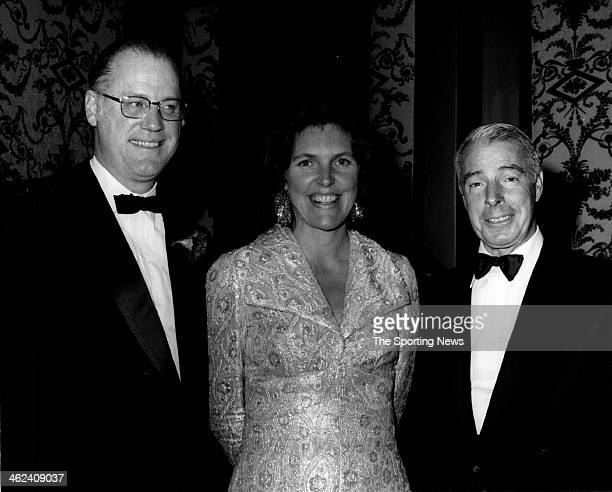 Bowie Kuhn Kuhn's wife Luisa and Hall of Famer Joe DiMaggio circa 1970