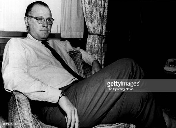 Bowie Kuhn newly elected as Major League Baseball Commissioner relaxes in his hotel room while talking to the media Kuhn will serve a seven year term...