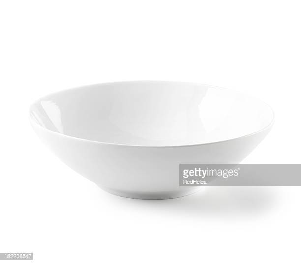 bowl flat white and empty - bowl stock pictures, royalty-free photos & images