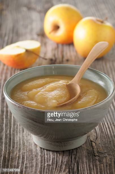 A bowl of apple sauce with a spoon