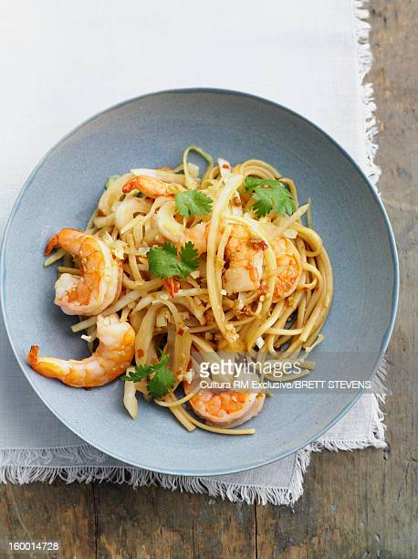 Bowl of Asian noodles with prawns