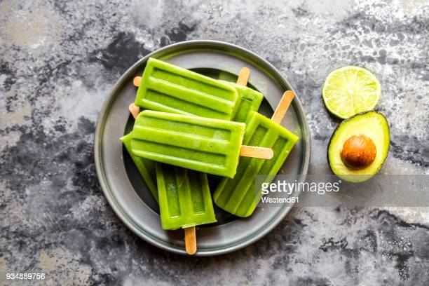 Bowl of avocado lime ice lollies