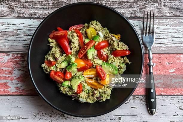 Bowl of avocado tuna salad