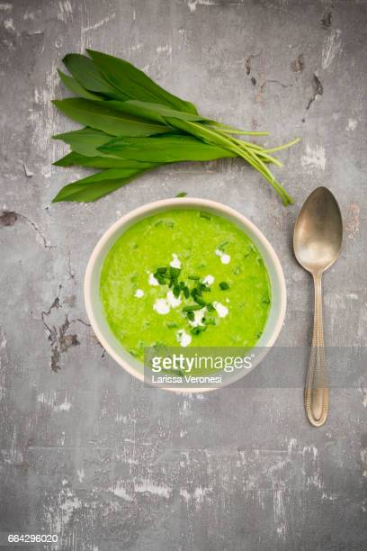 Bowl of bears garlic soup and fresh ramson leaves
