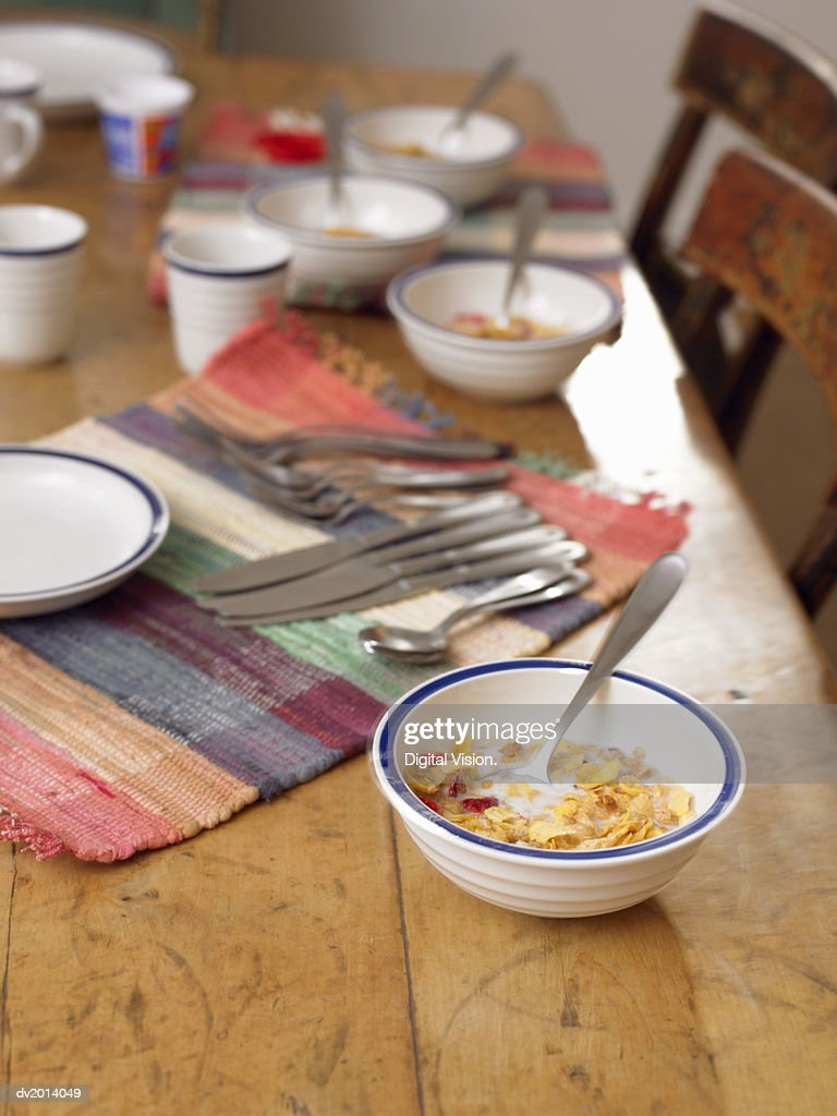 Bowl of Breakfast Cereal on a Wooden Table : Stock Photo