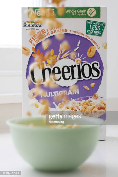 Bowl of Cheerios breakfast cereal, manufactured by Nestle SA, arranged in London, U.K., on Monday, July 26, 2021. Nestle report their half-year...