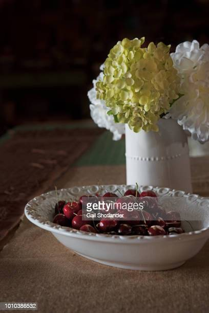 Bowl of Cherries and a Vase of Hydrangea